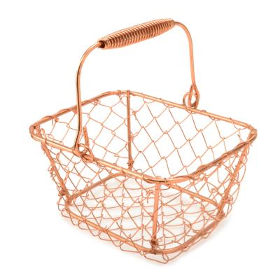 Small copper metal basket
