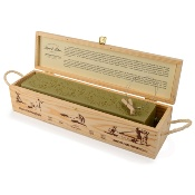 Bar of original Marseille soap with olive oil, in a wooden case